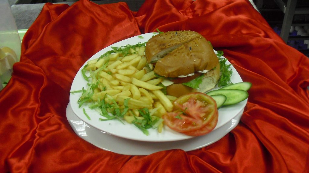 Beef or Chicken Cheese Burger with fries
