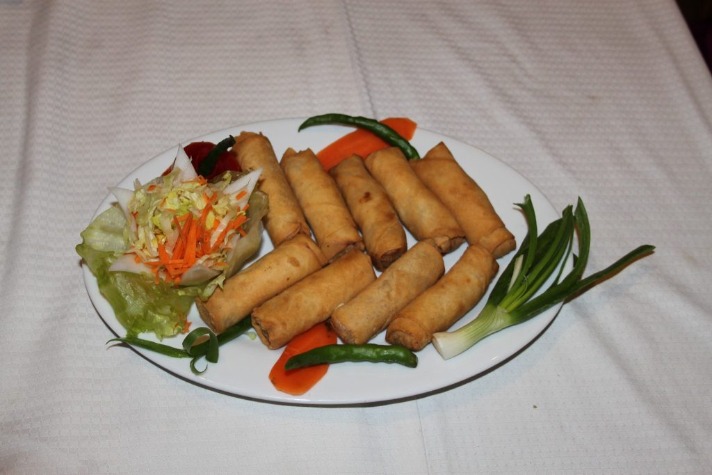 Chicken with Vegetable Spring Rolls