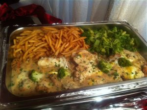 American Chicken Steak with fries & broccoli