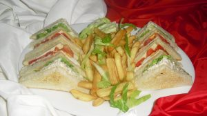 Club Sandwich with Fries and Coleslaw