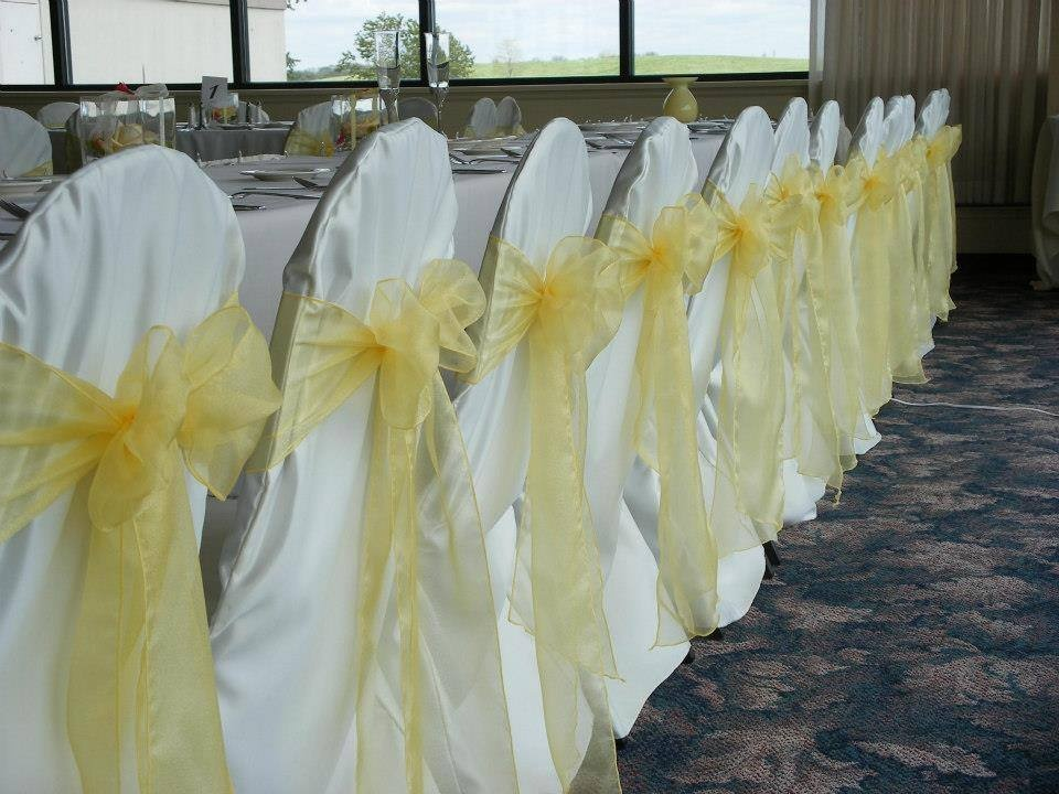 Banquet Chairs with Chair Covers and Ribbons (all colours and style available)