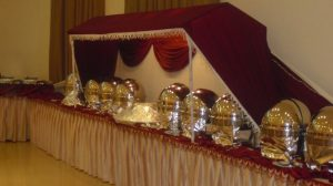 Buffet Setup with Silver Chafing Dish