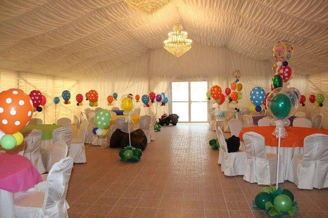 Tent with Lining and Wooden Floor for a birthday party